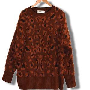 NWT Zara oversized fuzzy cheetah print sweater❤️